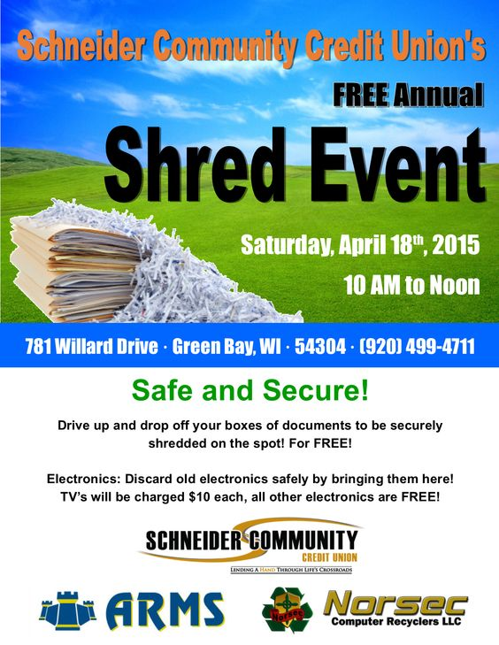 Attend Schneider Community CU's FREE Annual Shred Event! Shred confidential documents safely!