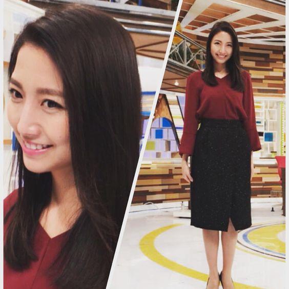 今日のグッディ衣装を披露しているシックな衣装の三田友梨佳アナの画像