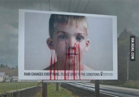 This is a billboard in Romania that turns red when it rains