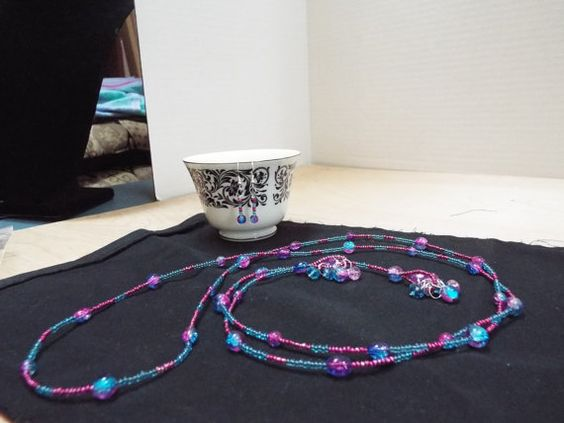 Hey, I found this really awesome Etsy listing at https://www.etsy.com/listing/208170245/60-purple-and-blue-lariat-necklace-with