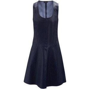 Joseph Matt Stretch Leather Alina Dress in NAVY