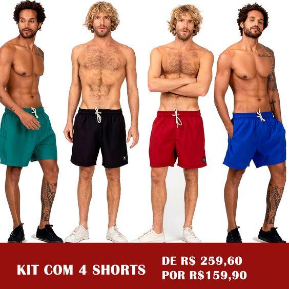 Kit 4 shorts Lisos