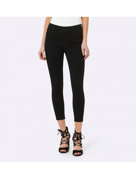 Poppy Mid Rise Ankle Grazer Jeans Black Power Stretch - Womens Fashion | Forever…
