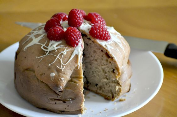 Cherry/fruits Cake: 1/3 sugar 1/3 c apple sauce 3/4 c fruit juice (me=cherry syrup with water) 2 c flour 1 tps baking powder 1/2 tps baking soda 2 eggs 1/2 tsp salt All mix and bake for 1h - oven 350 degree