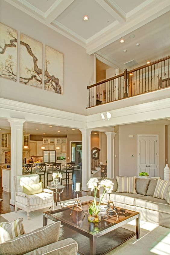 Two Story Fireplace Design Ideas Bathroomfurniturezone 2 Story Family Room Decorating Ideas Family Room Decorating High Ceiling Living Room Living Room Ceiling