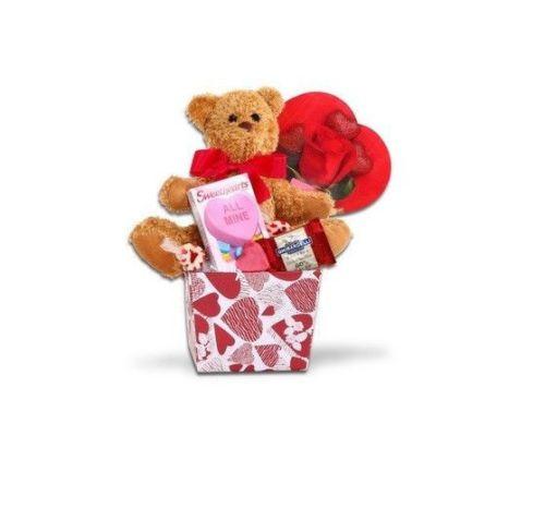 Valentine Gift Basket Teddy Bear Red Rose Ghiradelli Nougat Candy Chocolate