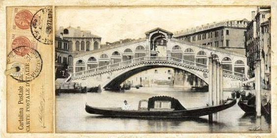 Another great post card from #Venice of a #gondola with a #Felze by the #Rialto #Bridge.