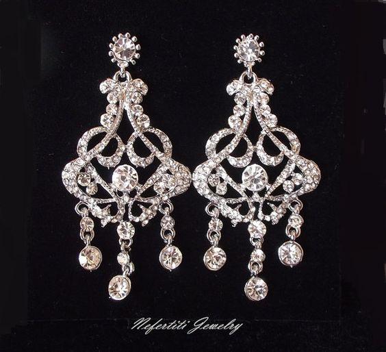 Swarovski Orecchini Sposa, orecchini da sposa strass, orecchini lampadario nuziali, orecchini di cristallo stile Vintage sposa Orecchini lampadario