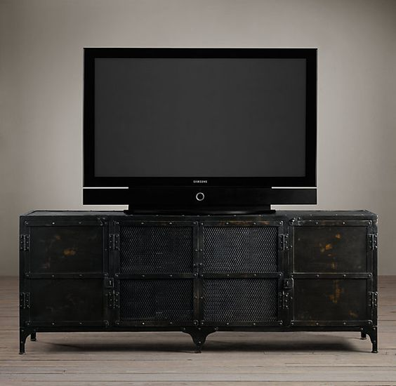 Industrial tool chest media console wood shelving - Restoration hardware cabinets ...