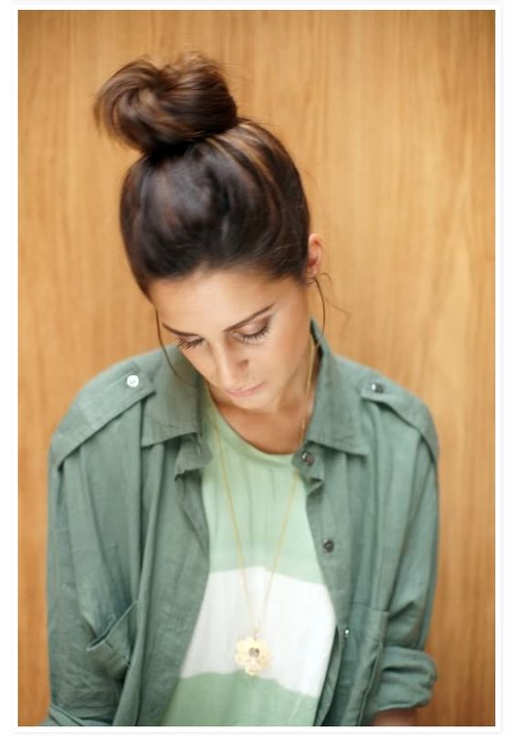 high messy bun- loving that this is a trend. Story of my life. #motherhood