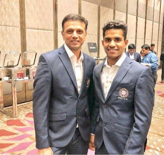 Rahul Dravid with India Under-19 speedster Shivam Mavi KreedOn