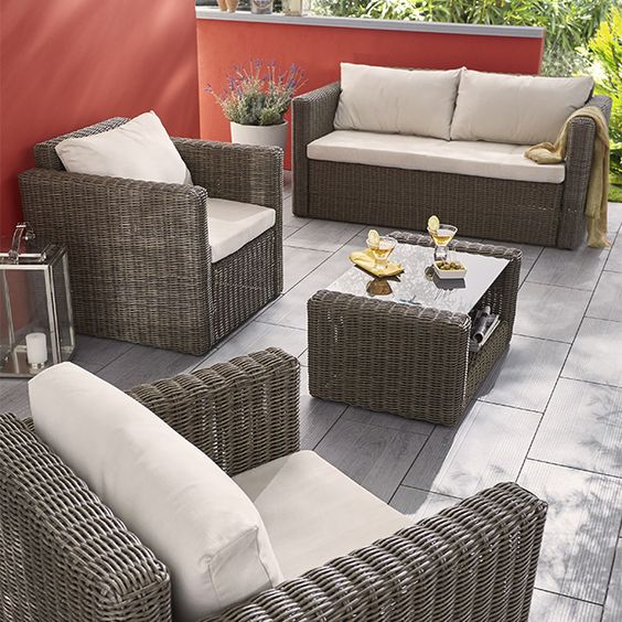 salon de jardin en rotin collection soron castorama