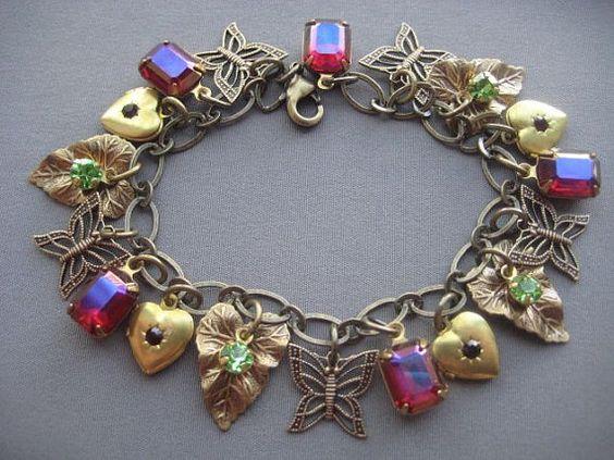 Charm Bracelet  Butterfly Bracelet  by SilverTrumpetJewelry, $49.00