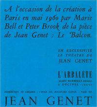 Publicité de Marc Barbezat pour Le Balcon, avec Marie Belle dans une mise en scène Peter Brook, 1960.