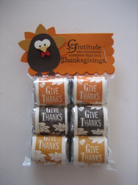 "Cute little treats for Thanksgiving.  Maybe for a teacher gift I could put ""Thank You!"" on the candy wrappers."