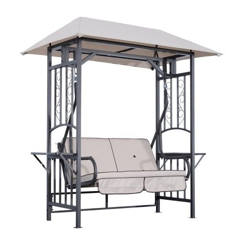 Aos Patio Fort Myers 2 Person Metal Swing Set With Canopy Shade Patio Swing Chair Patio Swing Outdoor Patio Swing