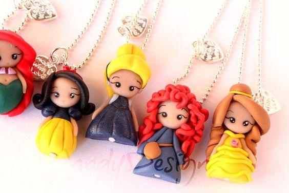 Disney Princess Necklace Disney Princesses Figurines by GRECOLINA, €15.00