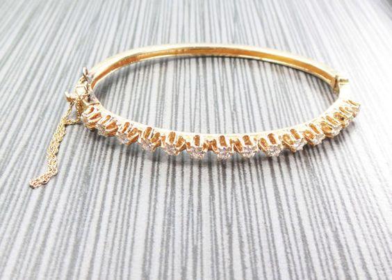Vintage 14k Diamond Bracelet Vintage Bangle Bracelet Heavy Yellow