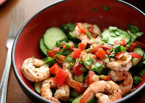 marinated cucumber and shrimp cajun salad