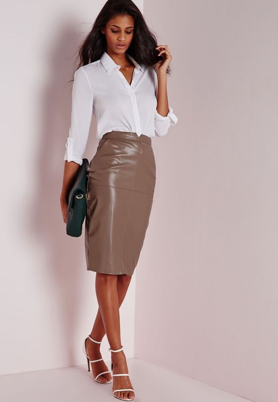 Missguided - Back Split Faux Leather Midi Skirt Taupe 17.00 (2 ...