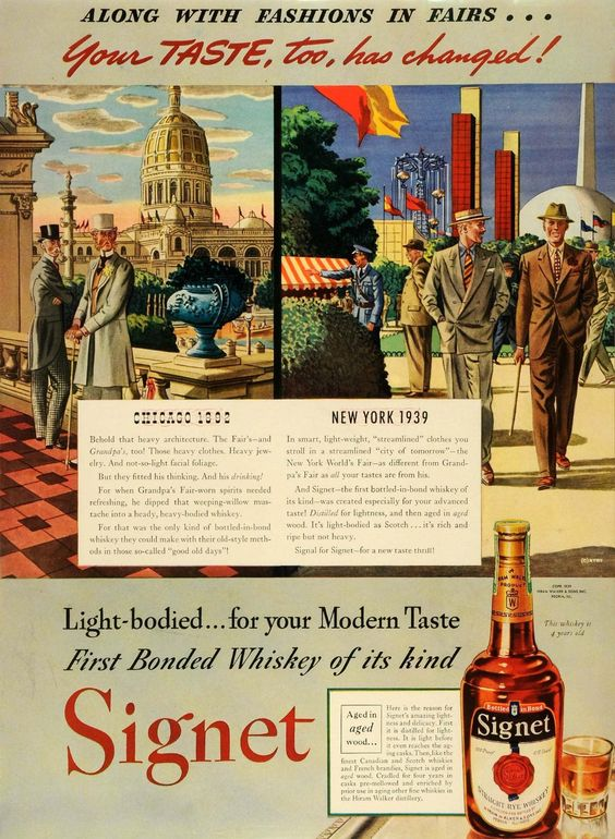 1939 Ad Hiram Walker & Sons Inc Signet Rye Whiskey Bottle New York Fair Fashion - Original Print Ad -