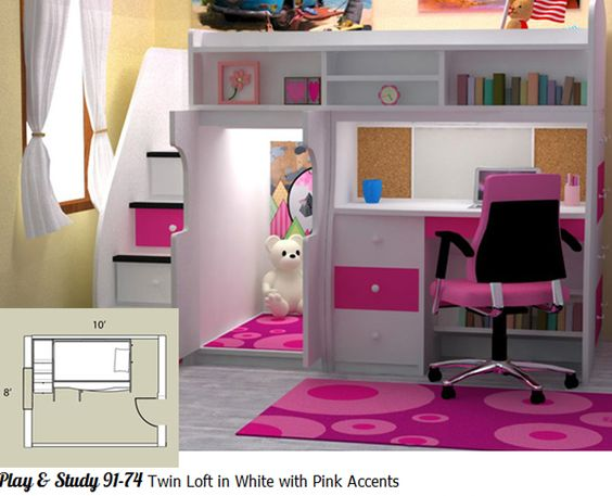 Girls Bed/Desk With Secret Hideout