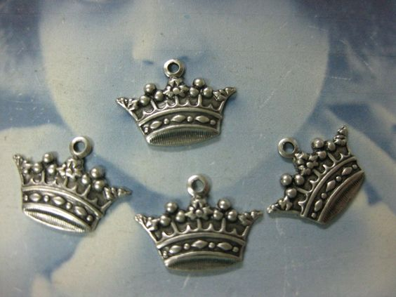 Mini Ornate Silver Ox Plated Crown Charms 385SOX x4. $3.25, via Etsy.