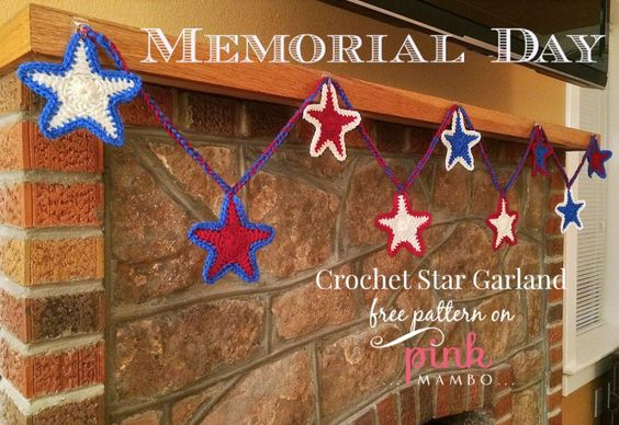 Memorial Day Crochet Star Garland