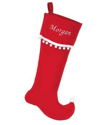 personalized red elf stocking