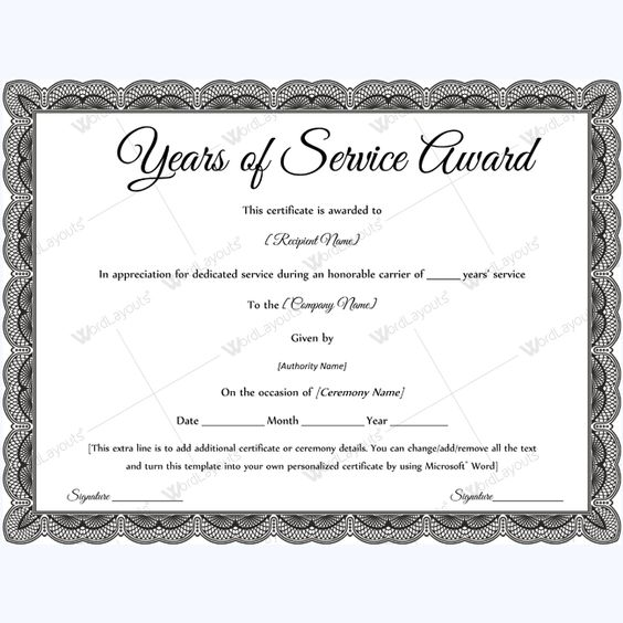Sample Of Years Of Service Award Certificate #yearsofserviceaward - sample membership certificate