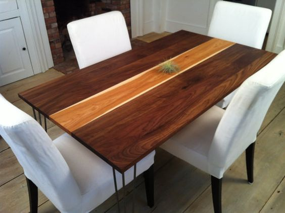 Walnut Hickory Dining Table Mid Century Modern Inspired
