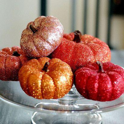 sparkly mini pumpkins: Glittered Pumpkins, Fall Decoration, Pumpkin Idea, Glitter Pumpkins, Fall Halloween, Mini Pumpkin, Glittery Pumpkin