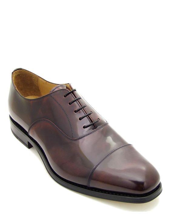 Scarpa da uomo elegante, stringata di colore rosso bordeaux lucido ...