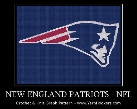 New England Patriots NFL Afghan Crochet Graph by YarnHookers, $5.00