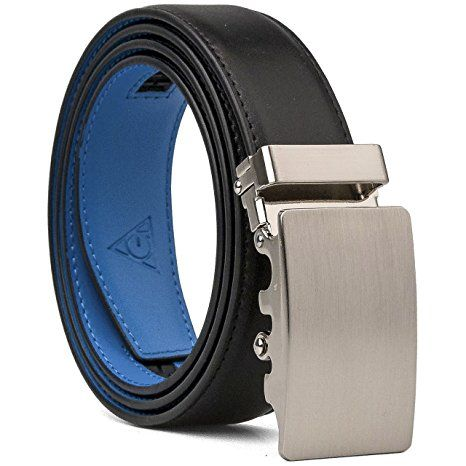 AOG DESIGN Two-tone Genuine Leather Sliding Belt with 35mm Automatic Ratchet Belt Buckle - Magnetic Edition (Black Blue)