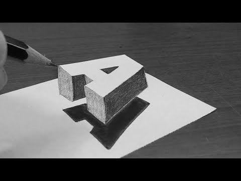 كيف ترسم حرف A ثلاثي الأبعاد بسهولة Youtube 3d Art Drawing Disney Art Drawings 3d Drawings