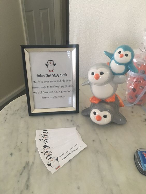 Penguin Baby Shower Game- Baby's first piggy bank.  Guest add their spare change…