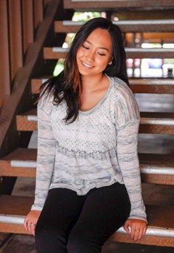 Lace Panel Striped Babydoll Sweater