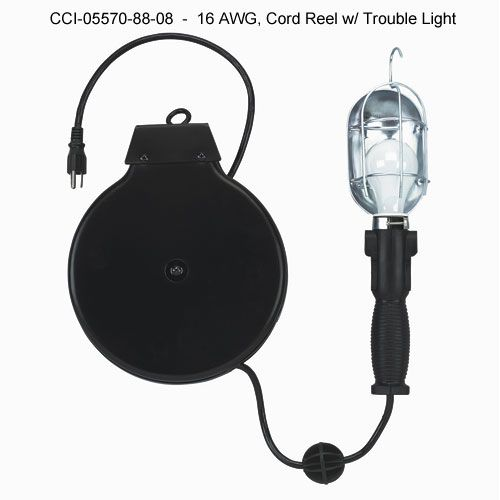 Coleman Cable Cord Reel With Trouble Light 16 Awg, 05570