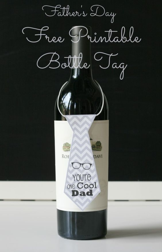 DIY Quick Easy Father's Day Gift -Free Printables Necktie wine Bottle Tags: