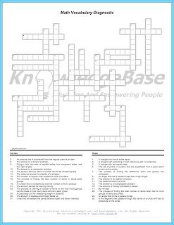 math worksheet : math crossword puzzle vocabulary diagnostic  learn how a simple  : Math Crossword Puzzle Worksheets