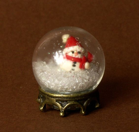 Cute Miniature Christmas Snow Globe with Snowman for Your Dollhouse by DinkyWorld at Etsy