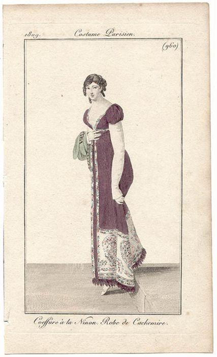 coiffure à la Ninon - robe de cachemire  journal des Dames et des Modes 1809