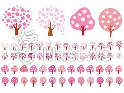 桜アイコン木ピンク春シルエットシンプル絵イラスト メッセージ