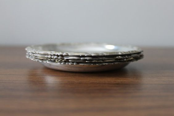 Set of 4 Italian Silver Coasters  Stackable Coaster Set by ATLVNTG, $19.00