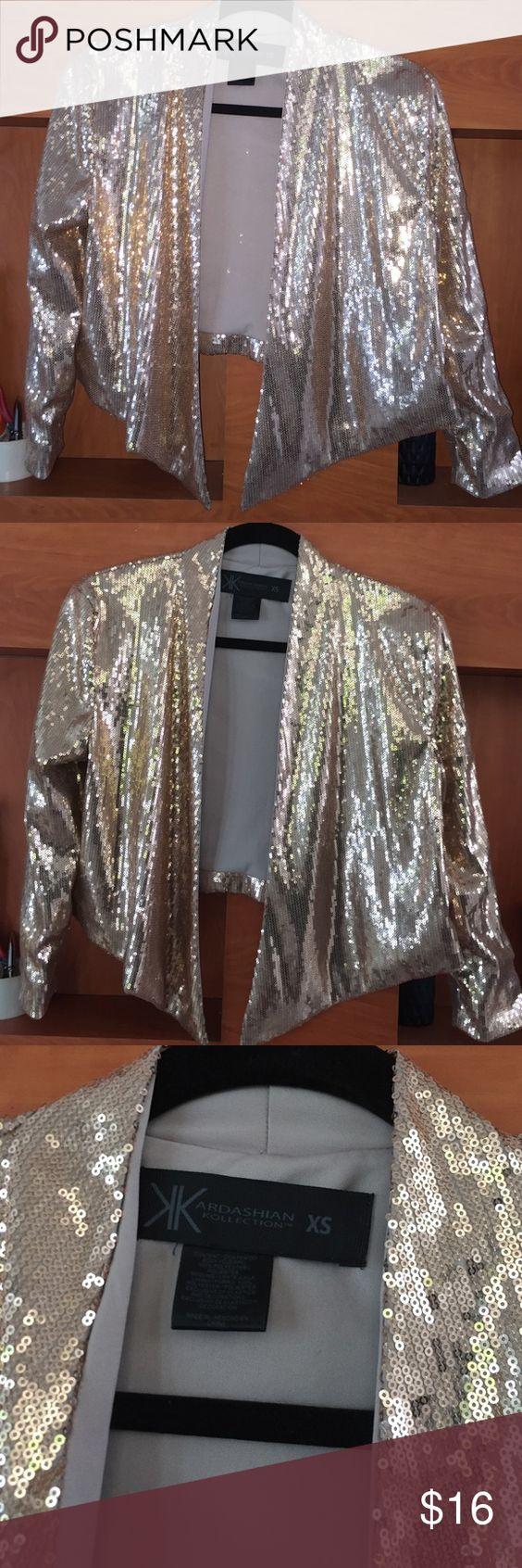 Kardashian collection shine crop blazer Wore once for Christmas crop blazer.very shiny and cute style crop blazer Kardashian Kollection Jackets & Coats Blazers