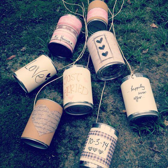 Wedding Customized GetAway Car Tin Cans Set of 8 -im soooo going ...
