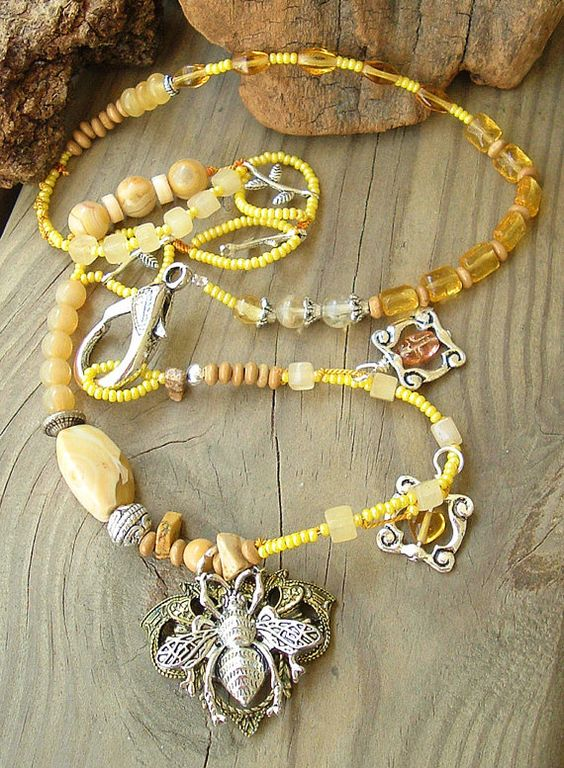 Bohemian Statement Necklace Queen Bee Yellow by BohoStyleMe