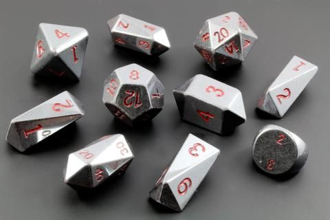 Dwarven Stone Hybrid Dice (Hematite) Note: This dice set is hand crafted from real stone....