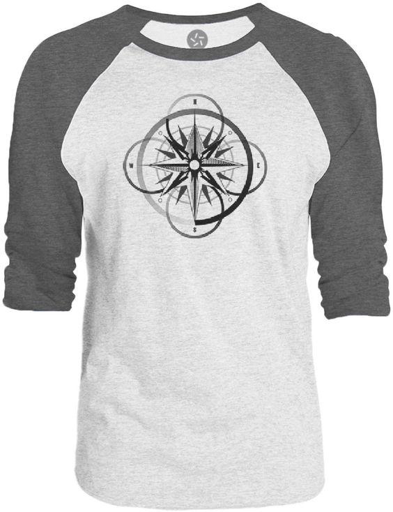Big Texas Compass of the Seas (Black) 3/4-Sleeve Raglan Baseball T-Shirt